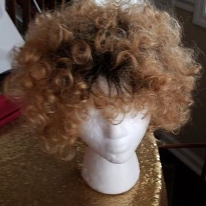 Virgin Human Hair Curly Two-tone Wig